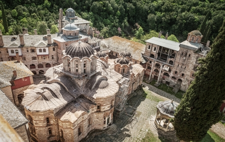 serbian: Serbian Christian Orthodox Monastery Hilandar  Holy Mount of Athos, Chalkidiki, Greece - republic of monks