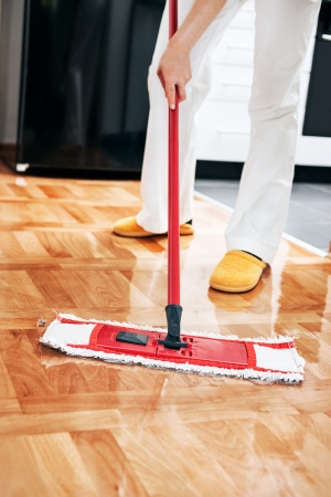 mopping: House cleaning -Mopping hardwood floor