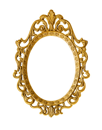 mirror frame: Golden antique frame, clipping path included Stock Photo