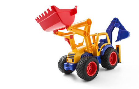 Toy Earthmover on white background photo