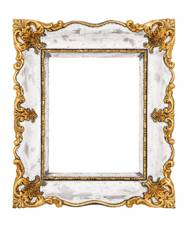 mirror on wall: Vintage frame isolated on white background