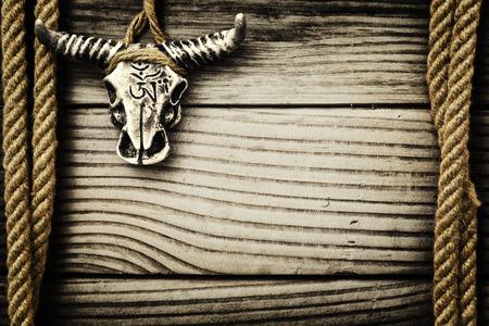 Buffalo skull on wooden  photo