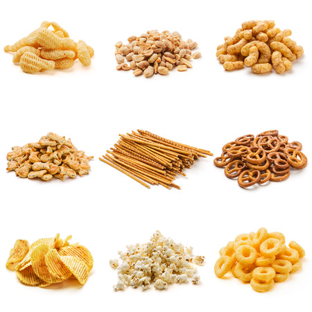 pretzel stick: Snack collection isolated on white background Stock Photo