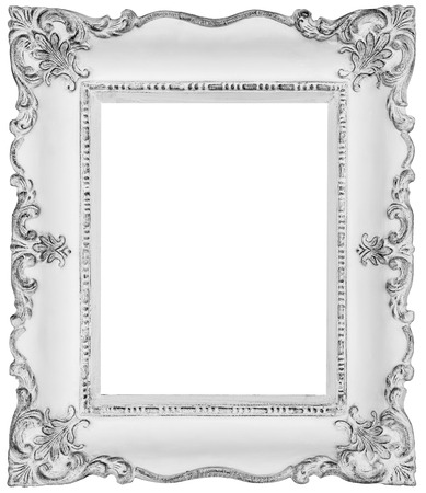 embellished: White baroque frame -White frame isolated on white, inner and outer clipping paths included