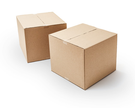 corrugated box: Cardboard boxes isolated on white background -Clipping Path