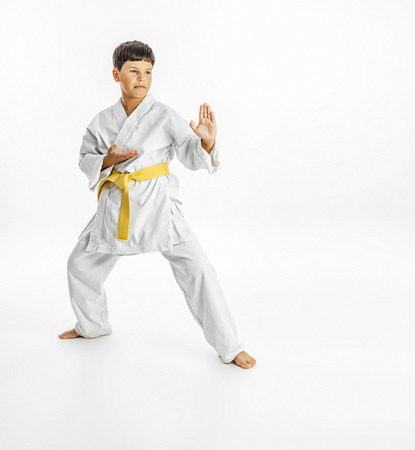 karate fighter: Full length portrait of a karate child exercise on white background Stock Photo