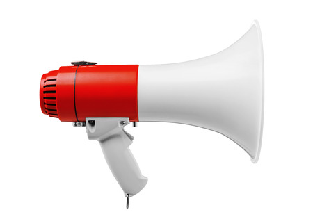 speaker phone: Megaphone isolated on white -Clipping Path Stock Photo