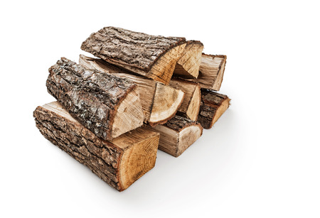 oak wood: The logs of fire wood on white background