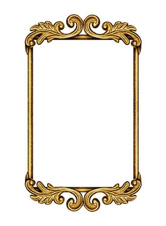 Golden antique frame isolated on white photo