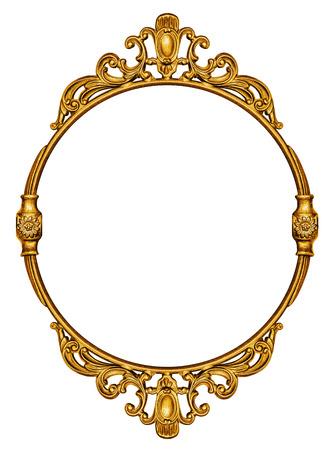 白い背景上に分離されてゴールド ビンテージ フレーム