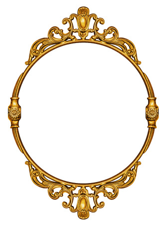 Gold vintage frame isolated on white background Stok Fotoğraf - 33420107