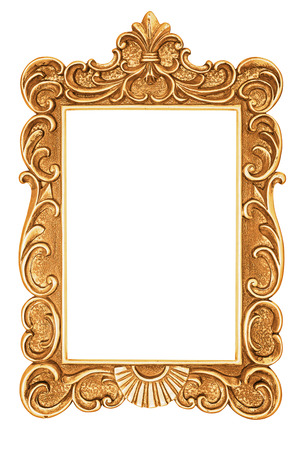 Golden antique frame isolated on white Imagens - 35570794