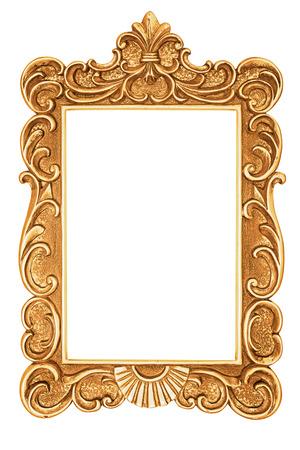 Golden antique frame isolated on white