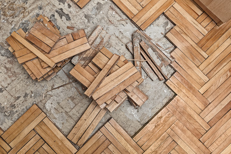 wood floor: Ruined flooring from moisture and water Stock Photo