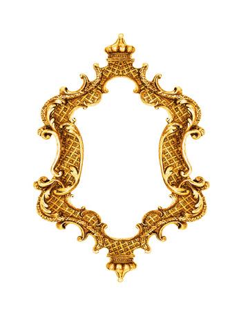 Gold vintage frame isolated on white background photo