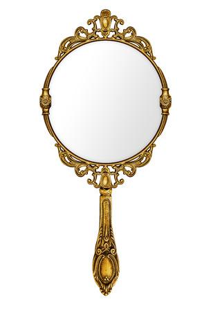 magie: Miroir � main vintage isol� sur blanc