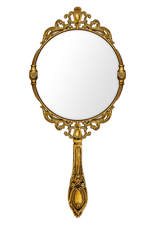 Vintage hand mirror isolated on white photo