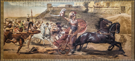 The Triumph of Achilles c. 1895 the oil painting by Franz Matsch that resides on the upper level of the main hall in the Achillion Palace in Corfu.