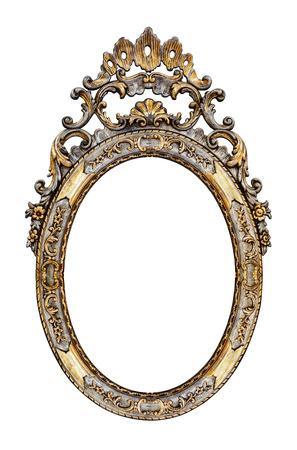 cadre antique: Cadre antique d'or isol� sur blanc Banque d'images