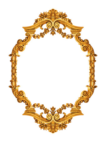 baroque border: Golden antique frame isolated on white