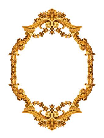 Goldene antiken Rahmen isoliert auf weiß Standard-Bild - 39750491