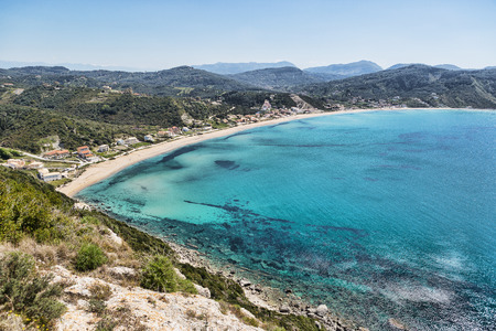 corfu: View from the hill to Agios Georgios bay with the long sandy beach at Corfu island Greece