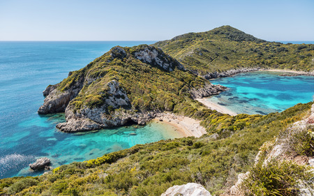 corfu: Famous 2 side Porto Timoni beach near Agios Georgios  Corfu Greece