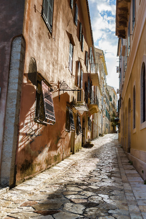 kerkyra: Narrow streets of Corfu island Greece