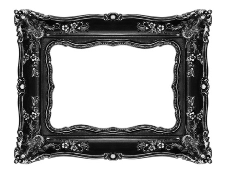 vintage photo: Black ornate frame Clipping path