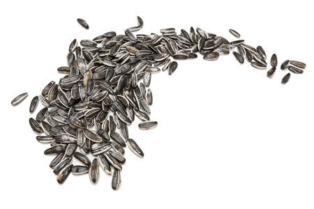 sunflower seeds: Sunflower seeds on white background Stock Photo