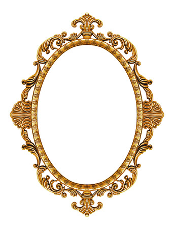 antique: Gold vintage frame isolated on white background