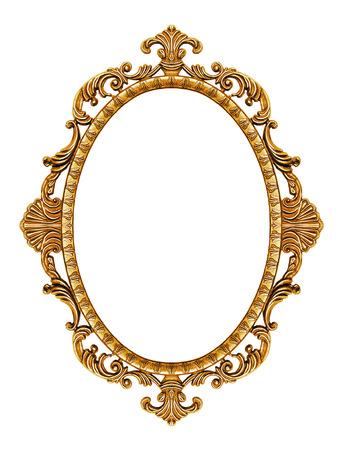 an oval: Marco de la vendimia del oro aislado en el fondo blanco Foto de archivo