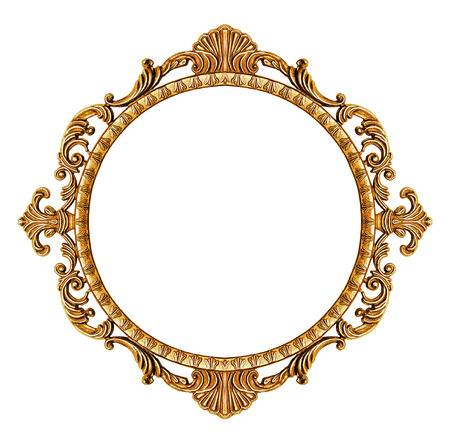 old frame: Gold vintage frame isolated on white background