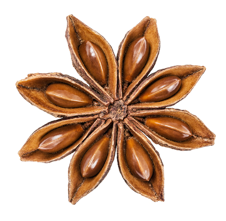 badiane: Anise star isolated on a white background. Clipping Path