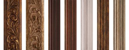 wood molding: Frame samples isolated on white