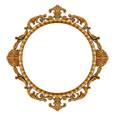 rounded: Gold vintage frame isolated on white background