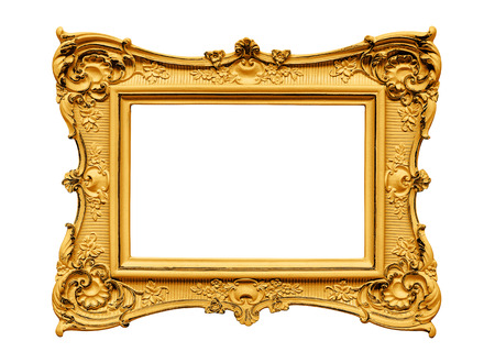 golden frame: Plaster golden frame isolated on white