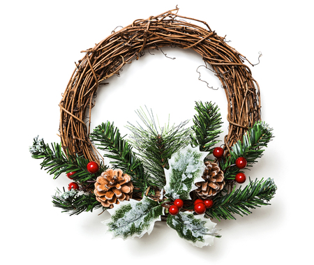 fake christmas tree: Christmas wreath decoration on white background