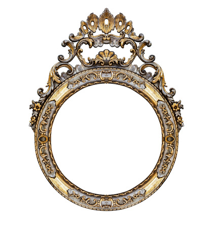 rounded: Old vintage frame isolated on white -Clipping path