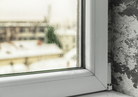 Condensation in windows cause mold and moisture in the house Stock Photo