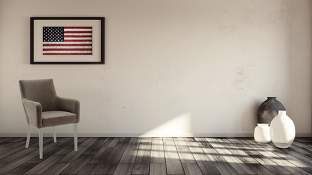 timber floor: Rustic interior with usa flag framed on the wall and armchair underneath