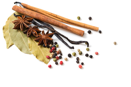 seasoning: Various spices on white background
