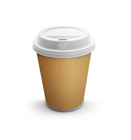 takeout: Take-out coffee in thermo cup -Clipping Path