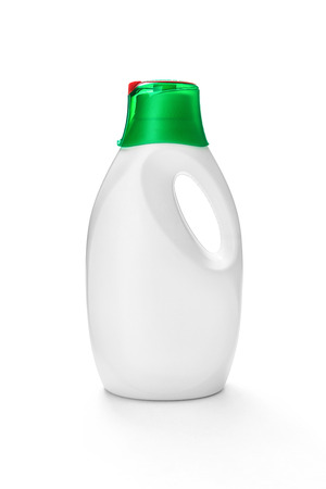 liquid: Liquid detergent in a plastic bottle with dispenser -Clipping path