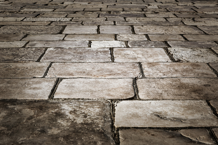 greece granite: Medieval street paved with the cobble stones -Corfu, Greece, Europe