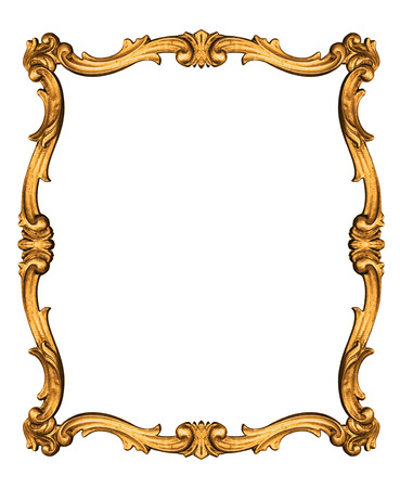 golden frame: Vintage frame isolated on white background -Clipping path