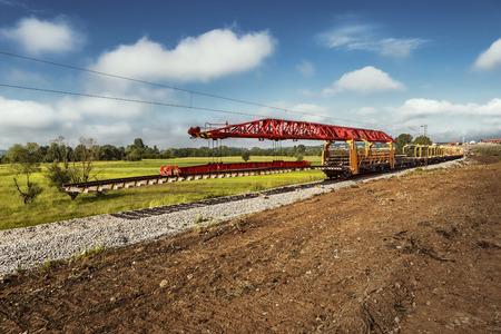 heavy machinery: Reparaci�n de maquinaria pesada l�neas de ferrocarril Foto de archivo