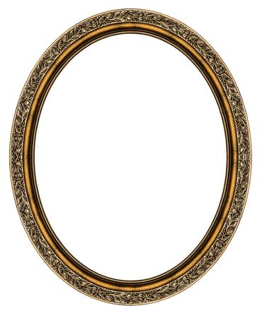 Wooden oval frame isolated on white background Standard-Bild