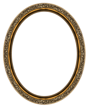 Wooden oval frame isolated on white background Stockfoto