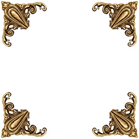 vintage photo: Golden elements of carved frame on white background